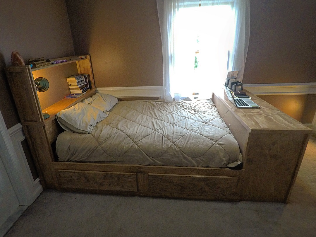 Bed Frame With Storage Headboard Desk The Cultured Craftsman